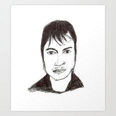 Biro drawing of the actor Gael Garcia Bernal Art Print