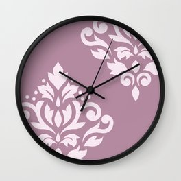 Scroll Damask Art I Pink on Mauve Wall Clock