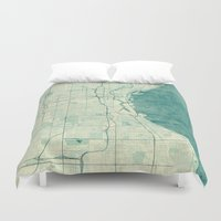 milwaukee Duvet Covers featuring Milwaukee Map Blue Vintage by City Art Posters
