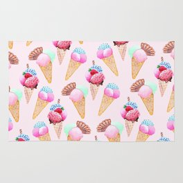Ice cream Pattern summer cool watercolor Rug