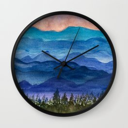Blue Ridge Mountains Sunrise Original Watercolor Painting Wall Clock