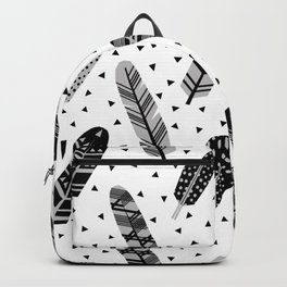 Feathers black and white triangle geometric modern trendy hipster boho southwest native style kids Backpack