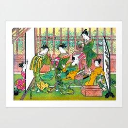 Brothel in Shinagawa, Bordello, Shinagawa yusho no enseki, Restored Antique Ukiyo-e Color Japanese Woodblock Print  Art Print