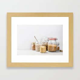grains, legumes and nuts on concrete background Framed Art Print