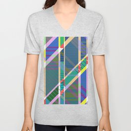 Pa5tel G30m3tri< - Geometric, tartan, pastel, abstract art Unisex V-Neck