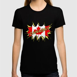 Canadian Flag Comic Style Starburst T-shirt