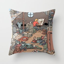 Artist in the Attic Throw Pillow