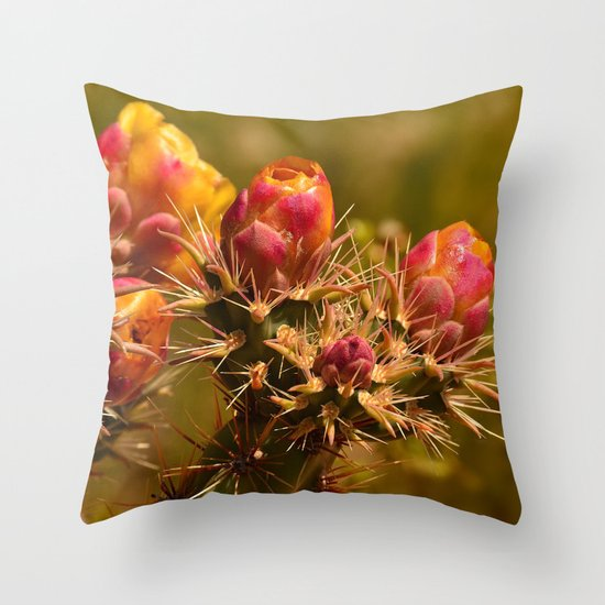 Cacti in Bloom - II Throw Pillow