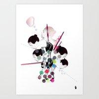 bubbles Art Prints featuring Bubbles by Stéphanie Brusick / Art by shop