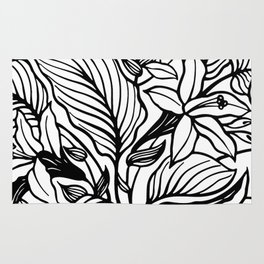 White Black Floral Minimalist Rug