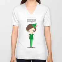 peter pan V-neck T-shirts featuring Peter Pan by oyoyoi
