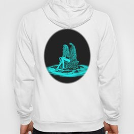 Angel lost in thought , black and green Design Hoody