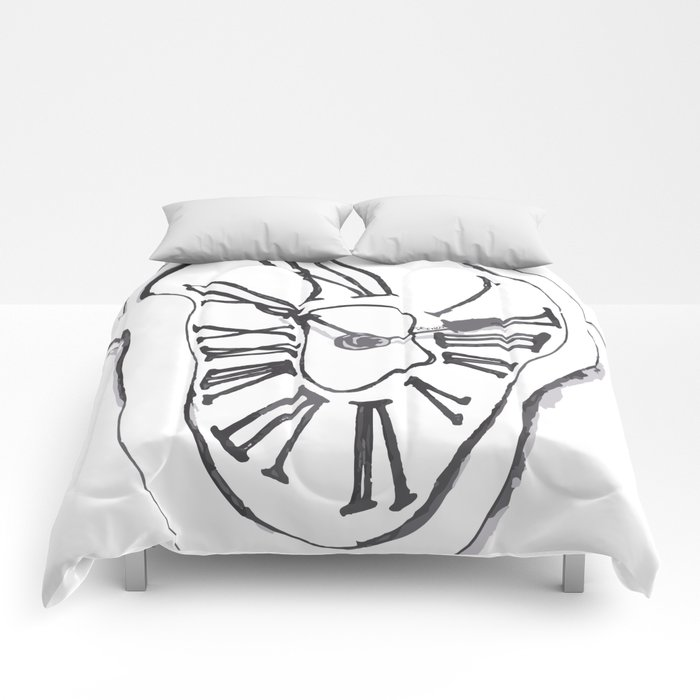 Clock - melted clock Dali inspired Comforters