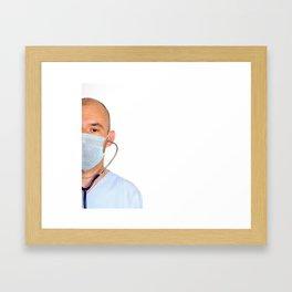 half face doctor hospital medic health Framed Art Print