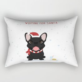 French Bulldog Waiting for Santa - Black / Brindle Edition Rectangular Pillow