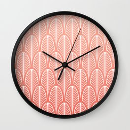 Peach Art Deco Pattern | Blush Pink Art Wall Clock
