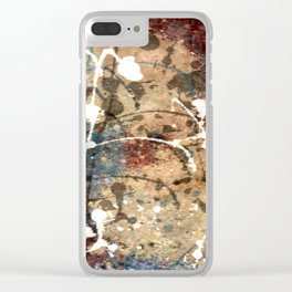 Blue, Burgundy, Beige with White Abstract Clear iPhone Case