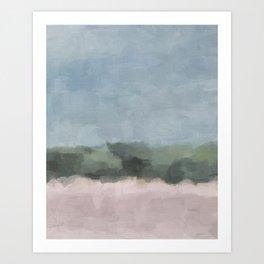 Sky Blue Forest Green Blush Pink Abstract Nature Beach Wall Art Decor, Painting Print, Modern Art Ar Art Print