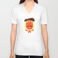 french V-neck T-shirts featuring French Companion by Teo Zirinis