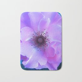 Pink Petals On Blue Bath Mat