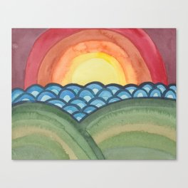 Psychedelic Sunset - Abstract Watercolor Landscape Canvas Print