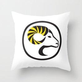 Dall Sheep Ram Full Curl Horn Circle Retro Throw Pillow