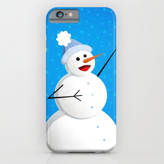 Blue Happy Singing Snowman iPhone & iPod Case