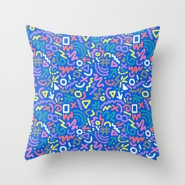 Bright Hand-Drawn 90s Pattern Throw Pillow