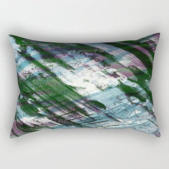 Escape! - Green, purple and cyan metallic abstract art Rectangular Pillow