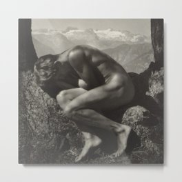 Adonis - In the Bosom of Nature - Male form artistic nude black & white photograph by Rudolf Koppitz Metal Print