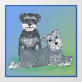 Dogs- Schnauzers - Dogs By Nina Lyman Canvas Print