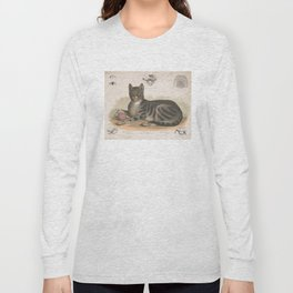 Vintage Illustration of a Domestic Cat (1872) Long Sleeve T-shirt