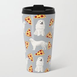 Great Pyrenees pizza dog portrait custom dog breed art print dog person gifts for christmas Metal Travel Mug