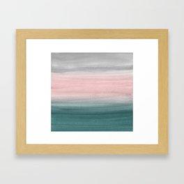 Touching Teal Blush Gray Watercolor Abstract #1 #painting #decor #art #society6 Gerahmter Kunstdruck