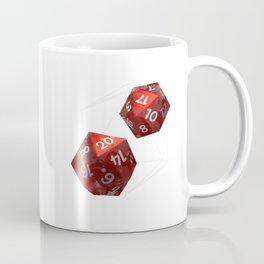 D20 Roleplaying Die Icosahedron Watercolor Red Coffee Mug