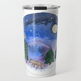 Wolf in Galaxy Winter Landscape Watercolor Art Travel Mug