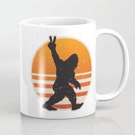 Retro Bigfoot Peace Sign Coffee Mug