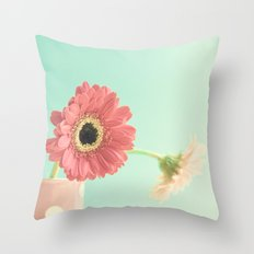 Soft Pink Flowers on Mint  Throw Pillow