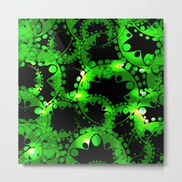 Green luminous lace from circles and balls. Metal Print