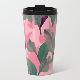 Retro Luxe Lilies Pink Travel Mug
