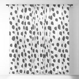 Black daps on white Sheer Curtain