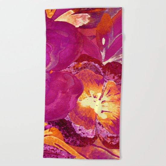 vintage big flower in purple Beach Towel