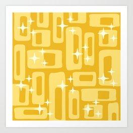 Retro Mid Century Modern Abstract Pattern 127 Yellow Art Print