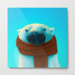 Polar bear with scarf Metal Print