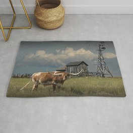 Longhorn Steer in a Prairie pasture by 1880 Town with Windmill and Old Gray Wooden Barn Rug