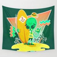 surfer Wall Tapestries featuring Alien Surfer Nineties Pattern by chobopop