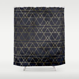 Modern Deco Gold and Marble Geometric Mountains on Navy Blue Shower Curtain