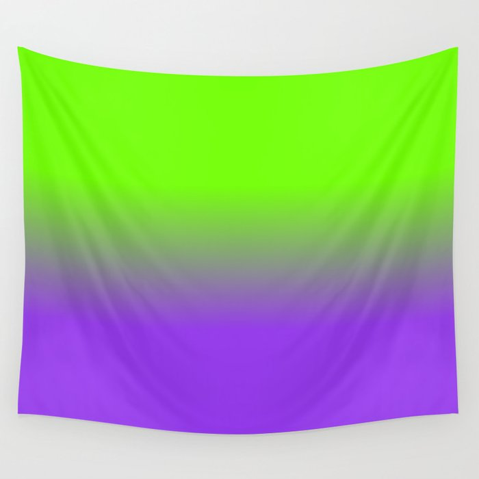 Neon Purple And Green Ombré Shade Color Fade Wall Tapestry