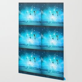 Cute elf in blue Wallpaper