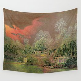 English Garden Sunset Wall Tapestry